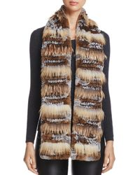 Maximilian - Brown Fox Fur-inset Rabbit Fur Knit Scarf - Lyst