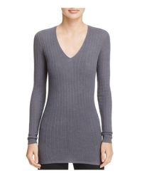 Vince - Gray Cashmere Ribbed V-neck Sweater - Lyst