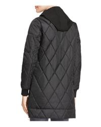 Vince Camuto - Black Long Quilted Bomber Jacket - Lyst