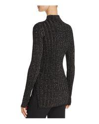 Theory - Black Metallic Ribbed Merino Wool Sweater - Lyst