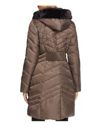 Via Spiga - Brown Faux Fur Trim Pillow Collar Puffer Coat - Lyst