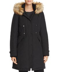 Vince Camuto - Black Side Belted Faux Fur Trim Anorak - Lyst