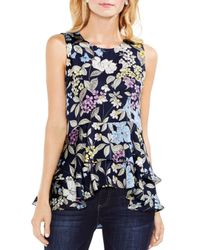 Vince Camuto - Blue Floral Tiered-peplum Top - Lyst