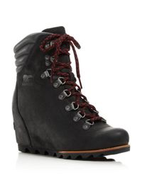 Sorel - Black Women's Waterproof Leather Conquest Wedge Booties - Lyst