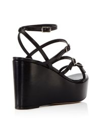 Charles David - Black Penelope Strappy Platform Wedge Sandals - Lyst