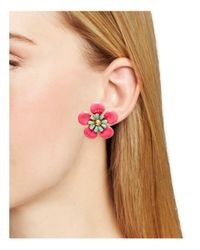 Kate Spade - Pink Flower Stud Earrings - Lyst