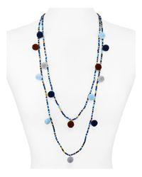 "Aqua - Blue Kira Pom Pom Necklace, 30"" - Lyst"