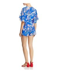 Yumi Kim - Blue Castaway Floral Flutter Sleeve Romper - Lyst
