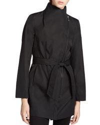 Calvin Klein - Black Tie Waist Trench Coat - Lyst