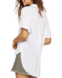 BCBGeneration - White Draped Crossover Top - Lyst