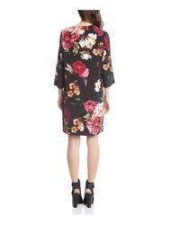 Karen Kane - Black Floral Lace-up Dress - Lyst