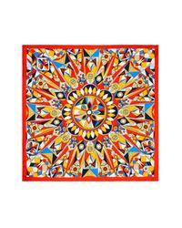 Tory Burch - Orange Psychedelic Geometric Print Silk Scarf - Lyst