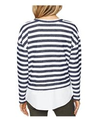 Sanctuary - Blue Ally Poplin-hem Stripe Sweatshirt - Lyst