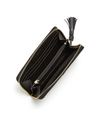 Tory Burch - Black Taylor Zip Leather Continental Wallet - Lyst
