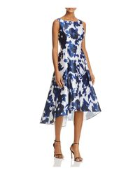 Adrianna Papell | Blue Abstract Floral High/low Dress | Lyst