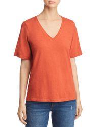 Eileen Fisher - Orange Organic Cotton Slub Knit V-neck Tee - Lyst