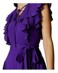 Karen Millen - Ruffle And Lace-up Maxi Dress - Purple - Lyst
