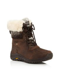 Ugg - Brown Adirondack Ii Faux Fur Cuffed Lace Up Mid Calf Boots - Lyst