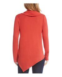 Karen Kane - Red Cowl Neck Asymmetric Sweater - Lyst