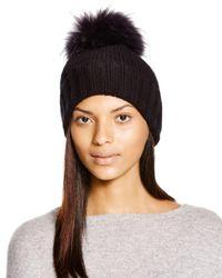 Inverni - Black Foldover Knit Beanie With Asiatic Raccoon Fur Pom-pom - Lyst