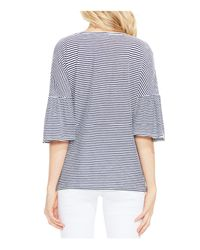 Vince Camuto - Blue Charter Mini-stripe Bell Sleeve Top - Lyst