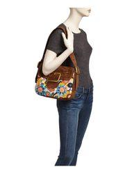 Tory Burch - Brown Sawyer Needlepoint Suede Shoulder Bag - Lyst