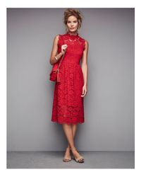 Kate Spade | Red Poppy Lace Midi Dress | Lyst