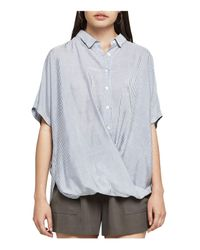 BCBGeneration   Blue Striped Button-down Front-tuck Shirt   Lyst
