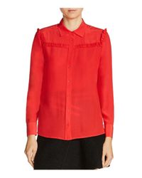 Maje - Red Callie Silk Shirt - Lyst