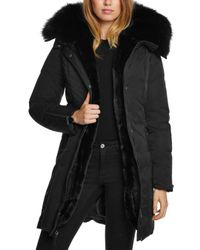 Dawn Levy - Black Luna Fur Trim Down Coat - Lyst