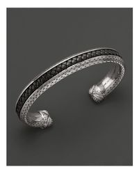 Scott Kay - Metallic Mens Sterling Silver Cuff with Woven Black Leather Inlay for Men - Lyst