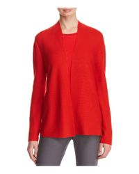 Eileen Fisher - Red Simple Open Cardigan - Lyst