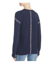 Aqua - Blue Cashmere Whipstitch Sweater - Lyst