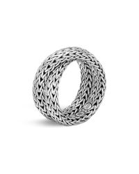 John Hardy - Metallic Sterling Silver Classic Chain Crossover Ring - Lyst