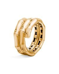 John Hardy - Brown 18k Gold Bamboo Double Coil Ring - Lyst