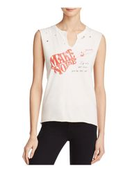 Project Social T - White Make Noise Distressed Muscle Tee - Lyst