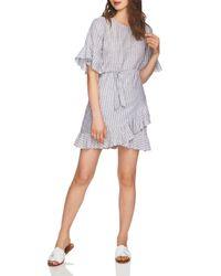 1.STATE - Gray Striped Ruffle-trim Dress - Lyst