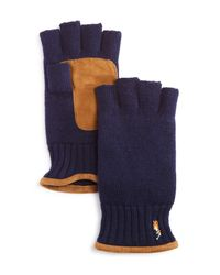 Polo Ralph Lauren - Blue Fingerless Merino Gloves for Men - Lyst