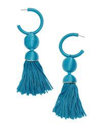 BaubleBar - Blue Sameria Hoop & Tassel Drop Earrings - Lyst