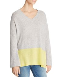C By Bloomingdale's - Gray Color-block Lightweight Cashmere Sweater - Lyst