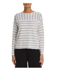 Eileen Fisher - Gray Mixed Stripe Top - Lyst