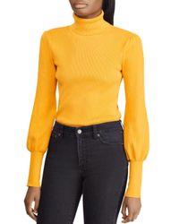 Ralph Lauren - Metallic Lauren Blouson-sleeve Turtleneck Sweater - Lyst