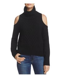 Theory - Black Cold-shoulder Cabled Turtleneck Sweater - Lyst