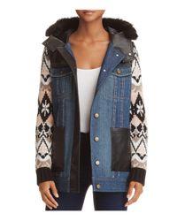 Aqua | Blue Yigal X Faux Fur-trim Mixed Media Coat | Lyst