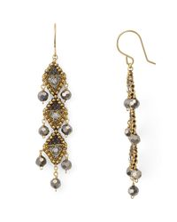 Miguel Ases - Metallic Beaded Drop Earrings - Lyst