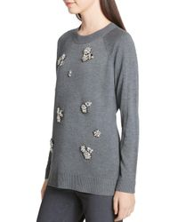 Calvin Klein - Gray Rhinestone Brooch Embellished Sweater - Lyst