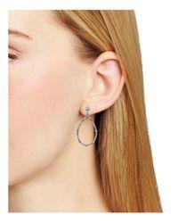 Carolee - Metallic Silver-tone Cubic Zirconia Drop Hoop Earrings - Lyst