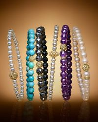 Lagos - Metallic 18k Gold And Sterling Silver Stretch Bracelet With Caviar Icon Ball - Lyst