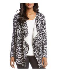 Karen Kane - Multicolor Leopard-print Fleece Open Cardigan - Lyst