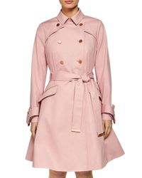 Ted Baker - Pink Marrian Flared Trench Coat - Lyst